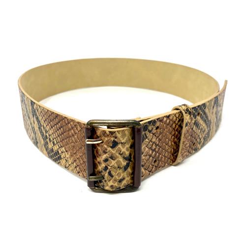 Wide Snake Print Waist Belt- Front