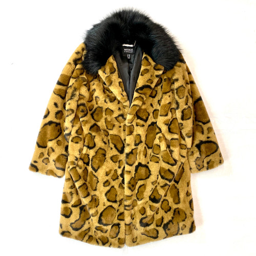 Madison Ave by Dennis Blasso Maxi Cheetah Printed Coat- Front