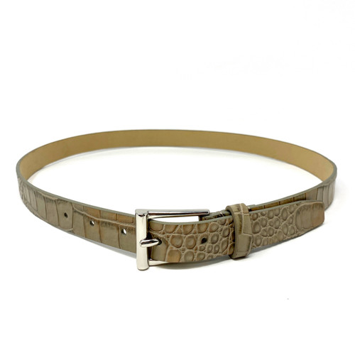 Neutral Textured Skinny Belt- Front