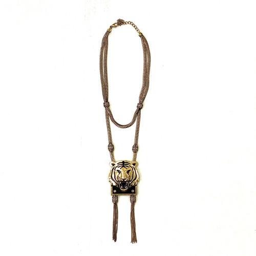 Lion Face Statement Necklace- Front