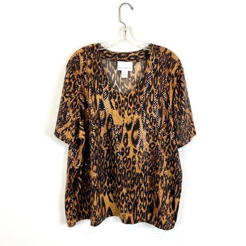 Susan Graver Style Embellished Leopard T-Shirt- Front