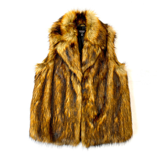 Topshop Faux Fur Vest with Lapels- Front