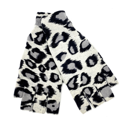 Autumn Cashmere Leopard Fingerless Gloves- Thumbnail