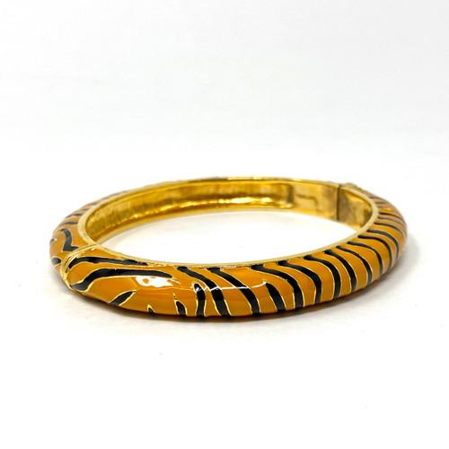 Joan Rivers Tiger Stripe Hinged Enamel Bangle- Thumbnail