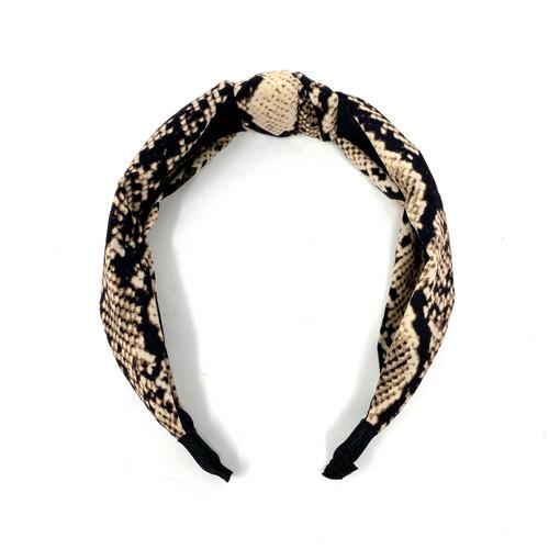 Top Knot Snake Print Headband- Thumbnail