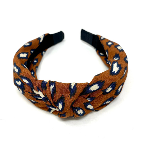 Top Knot Leopard Print Headband- Thumbnail