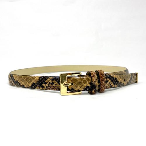 Brass Buckle Skinny Snake Belt- Front