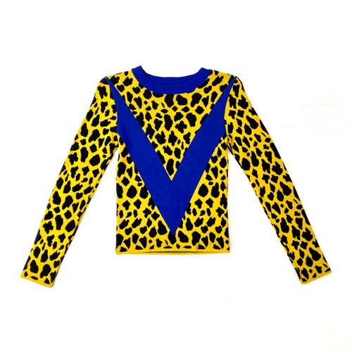 Topshop Varsity Cheetah Pullover- Front