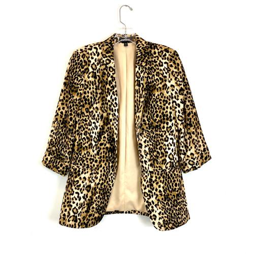Express Tuxedo Style 3/4 Sleeve Leopard Blazer- Front