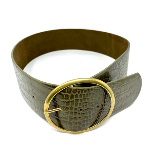 Croc Embossed Wide Belt- Front