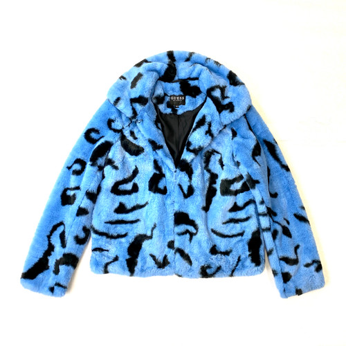 Guess Ultra Plush Cropped Leopard Jacket- Front