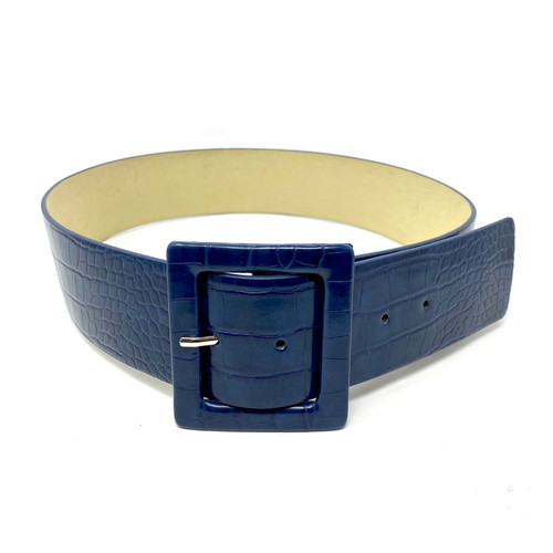 Faux Croc Square Buckle Belt- Thumbnail