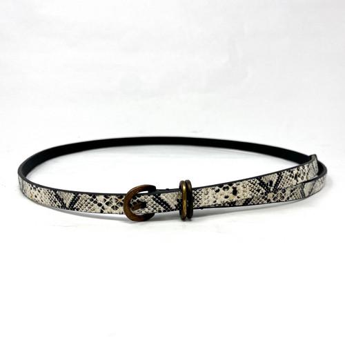 Monochrome Skinny Snake Belt- Front
