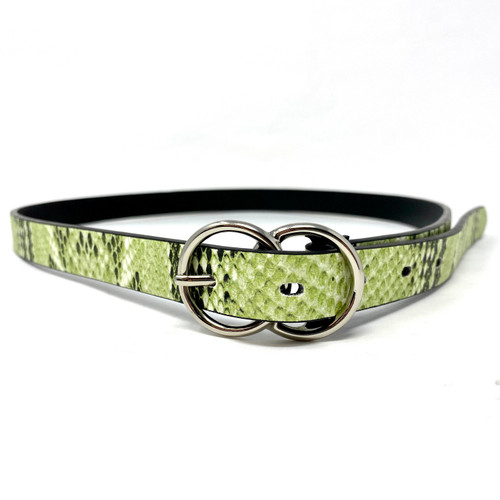 Double Circle Skinny Belt- Snake Front