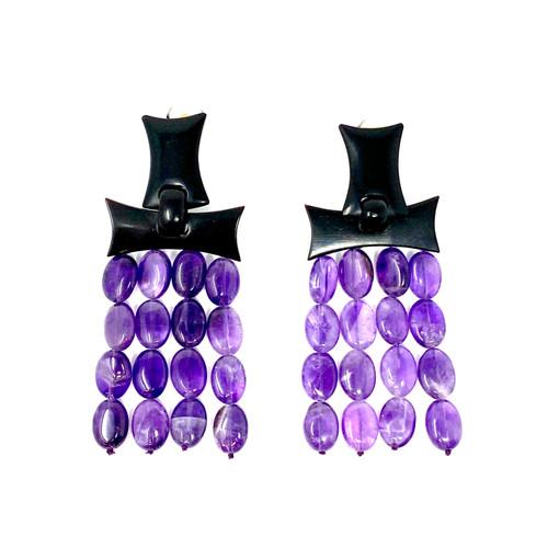 Pebbled Tassel Clip-On Earrings- Front