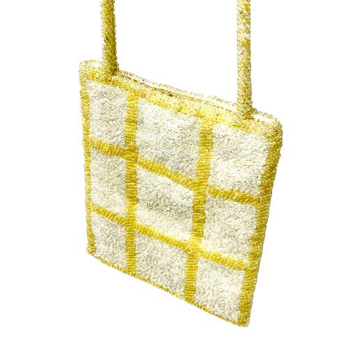 Vintage Lord & Taylor Checkered Beaded Mini Bag- Angle