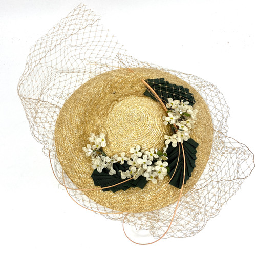 Vintage Straw Head Piece with Net Veil- Front