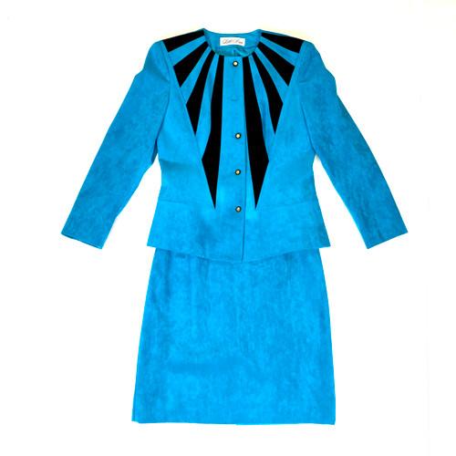 Lilli Ann Colorblock Faux Suede Skirt Suit- Thumbnail