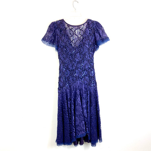 Vintage Beaded Lace 80's Party Dress- Front