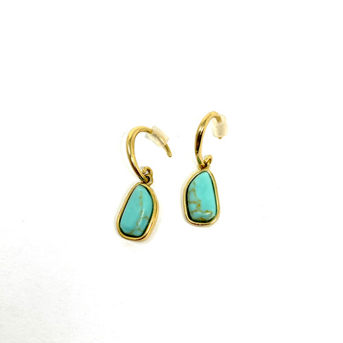 Faux Stone Oval Shaped Drop Earrings- Front