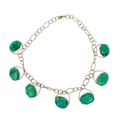 Jade Gemstone Statement Cuff Bracelet- Thumbnail