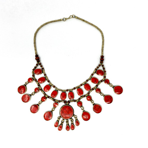 Faux Coral Stone Collar Necklace- Thumbnail