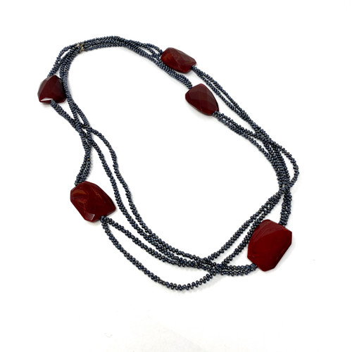 Faux Stone Multistrand Beaded Necklace- Thumbnail