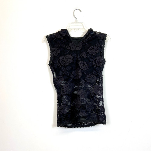 Gianfranco Ferre Hooded Lace Tank- Front