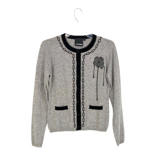 Ca$hmere Button Up Chain Cardigan- Front