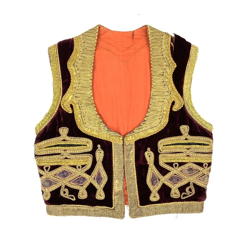 Vintage Distressed Embroidered Velvet Vest- Front