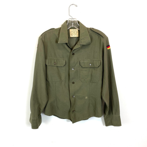 Vintage Military Shirt with German Flag Patch- Front