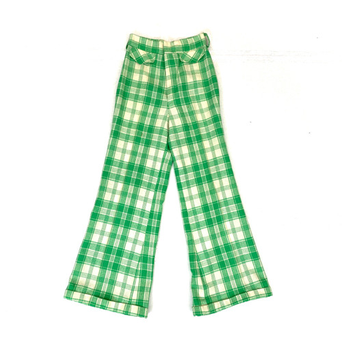 Vintage Garland Picnic Plaid Flared Trousers- Front