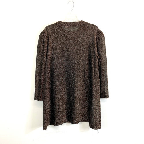 Vintage Bronze Lurex Puff Sleeve Blouse- Front