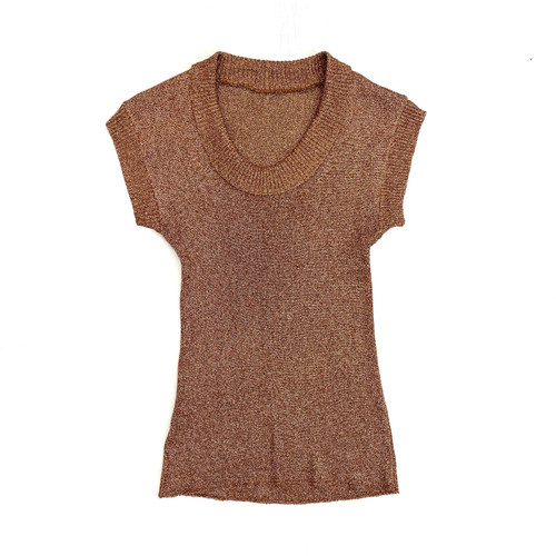 Vintage Rose Gold Cowl Neck Sleeveless Top- Front