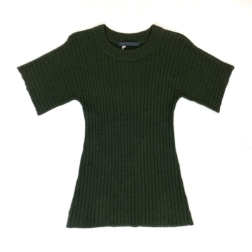 Creatures of Comfort Dark Olive Drop Shoulder Ribbed Top- Front
