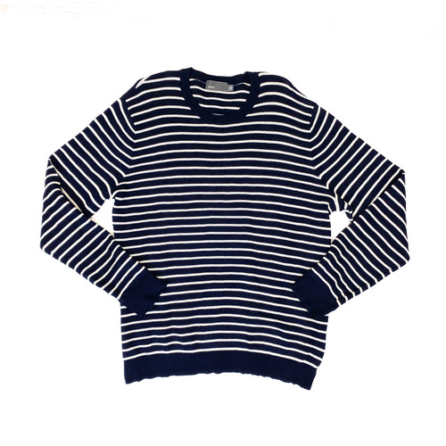 Vince Striped Crewneck Pullover Sweater- Front