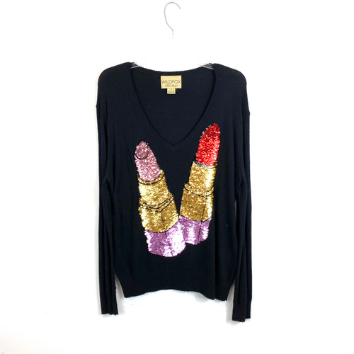 Wildfox White Label Sequin Lipstick Sweater- Front