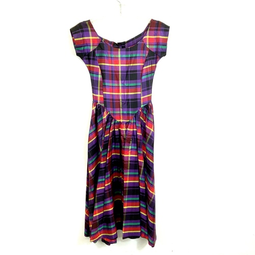 Betsey Johnson Satin Tartan Gown- Front