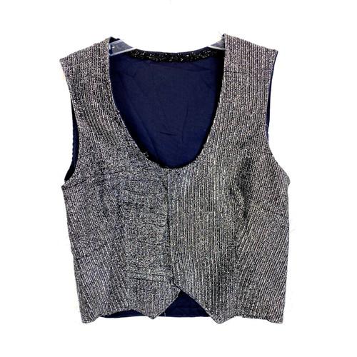 Vintage Scoop Neck Metallic Vest- Front
