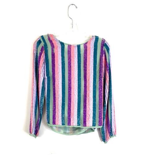 Asos Pastel Sequin Stripe Top- Front