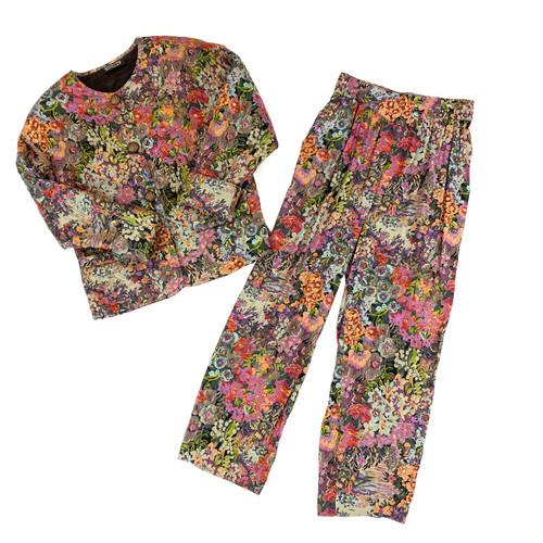 Vintage St. Tropez West Quilted Floral Suit- Thumbnail