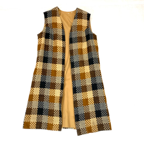 Vintage Woven Checkerboard Duster Vest- Front