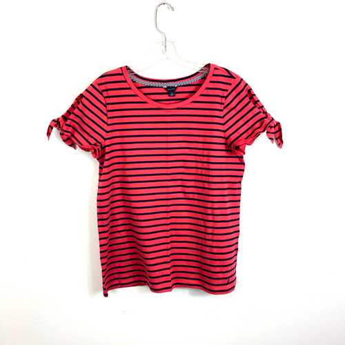 Nautica Striped Melon Tie Sleeve T-Shirt- Front