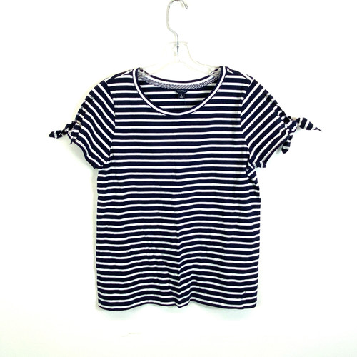 Nautica Striped Navy Tie Sleeve T-Shirt- Front