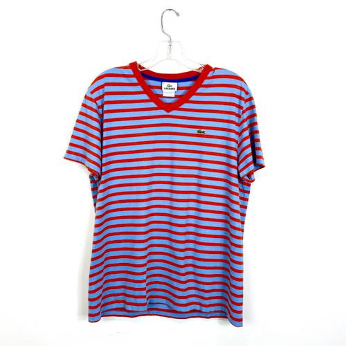 Lacoste V-Neck Striped T-Shirt- Front