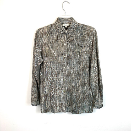 Vintage Gabey by Gabriel Metallic Knit Blouse- Front