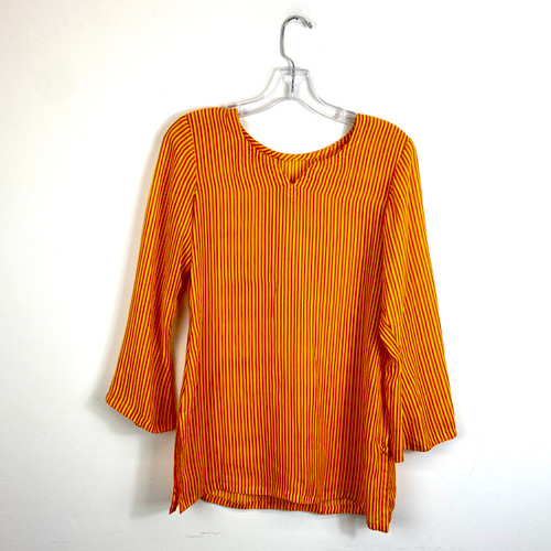 Vintage Stripe V-Notch Blouse- Back