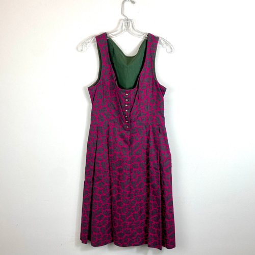 Vintage Floral Print Button Front Dress- Front