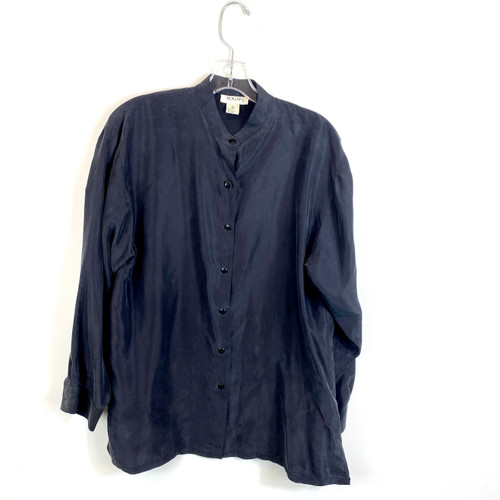 Vintage Washed Silk Collarless Blouse- Front