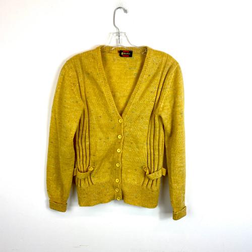 Vintage Waist-Tab V-Neck Cardigan- Front